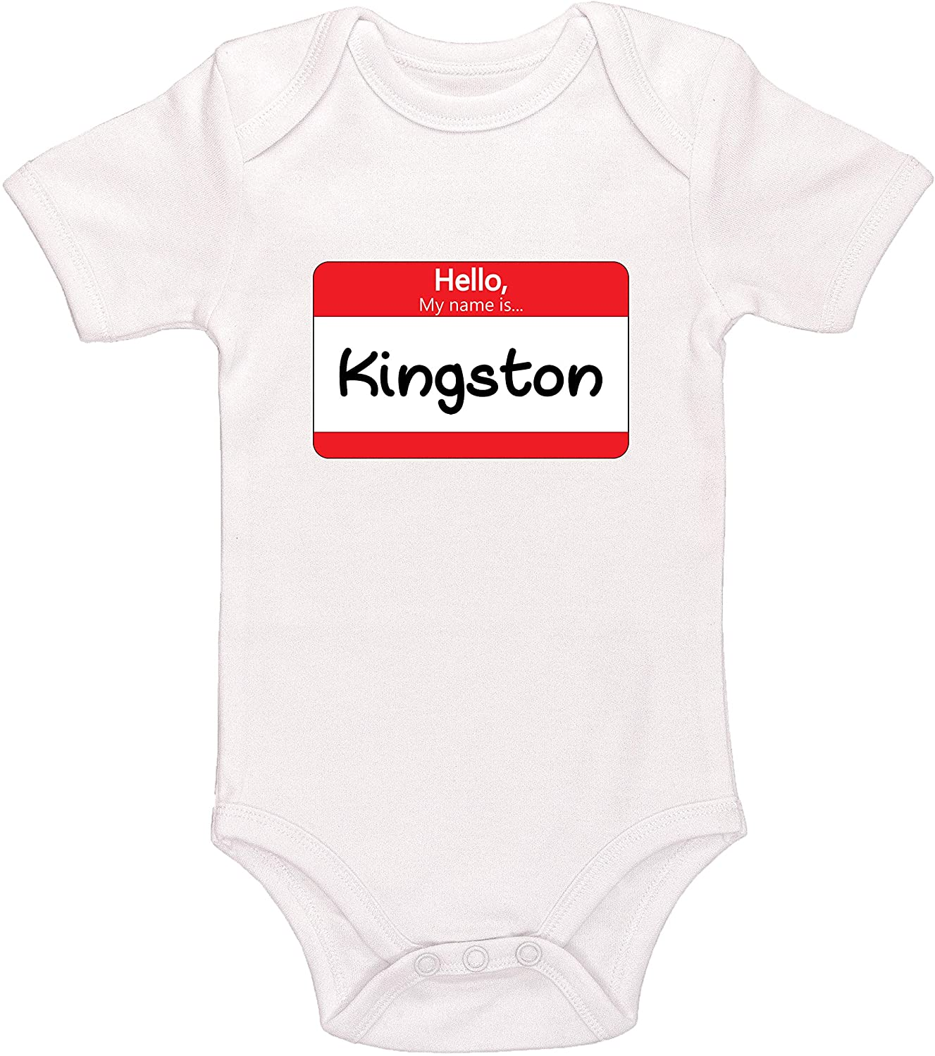 Kinacle Hello My Name is Kingston Personalized Baby Bodysuit