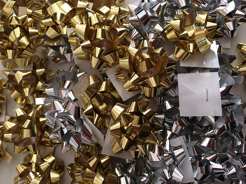 PEPPERLONELY Brand 20PC Metallic Christmas Confetti Gift Bows, Silver & Gold, Mini Size 1-1/4