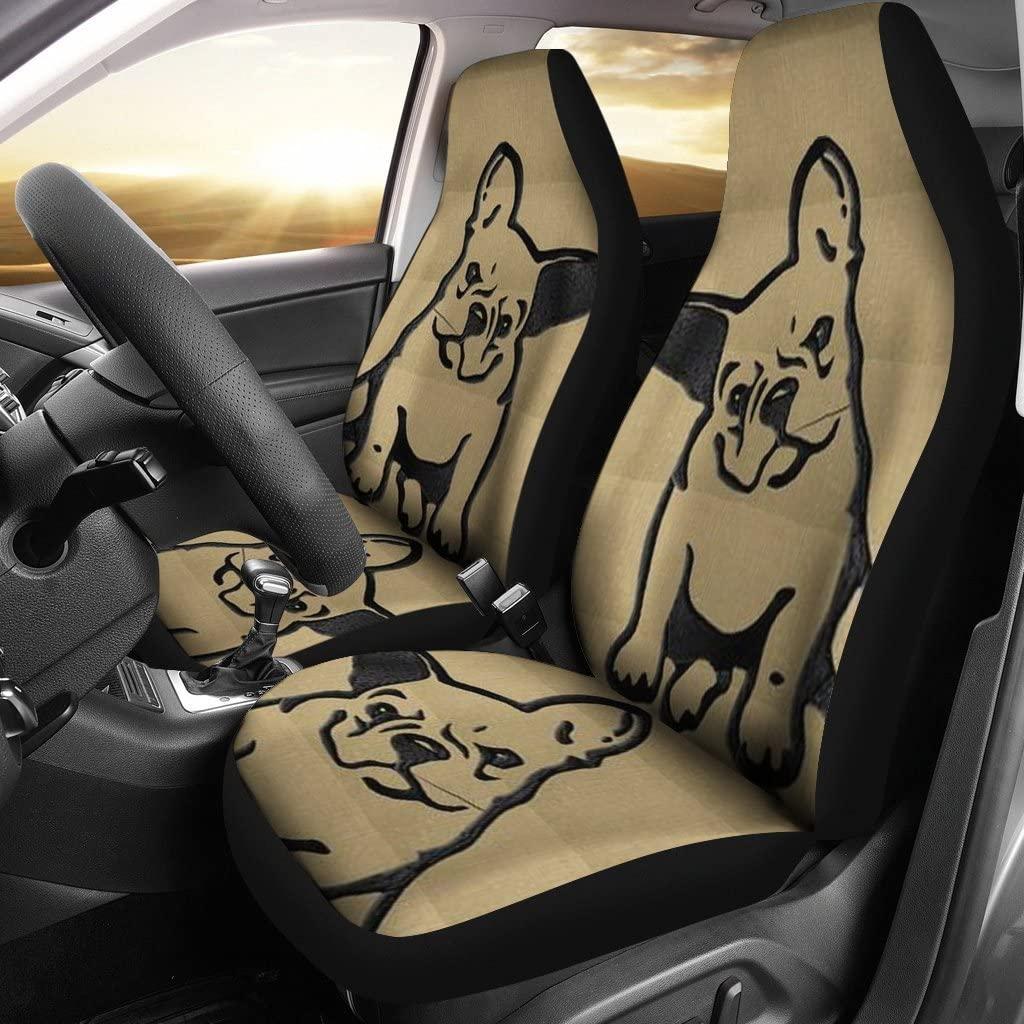 Pet Animal Designs Cute Bulldog Print Car Seat Covers