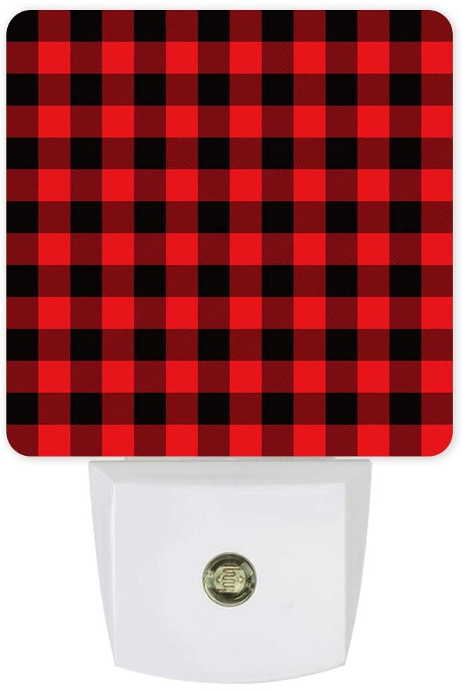 Plug in Dimmable Led Night Light Christmas Geometric Red and Black Plaid Soft Warm White Nightlights for Hallway,Bedroom, Kids Room