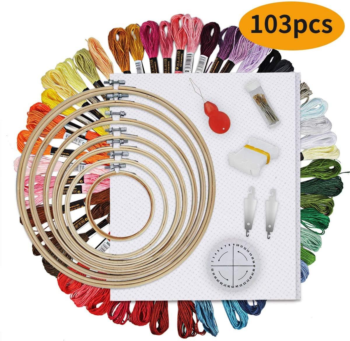 HAUSPROFI Embroidery Kits 103 Pcs, Full Range of Embroidery Starter Kits, Embroidery Wreath 7 Pcs, 50 Colors Threads, Winding Cards 10 Pcs, Embroidery Needle 30 Pcs, Needle, Cross-Stitch Fabric