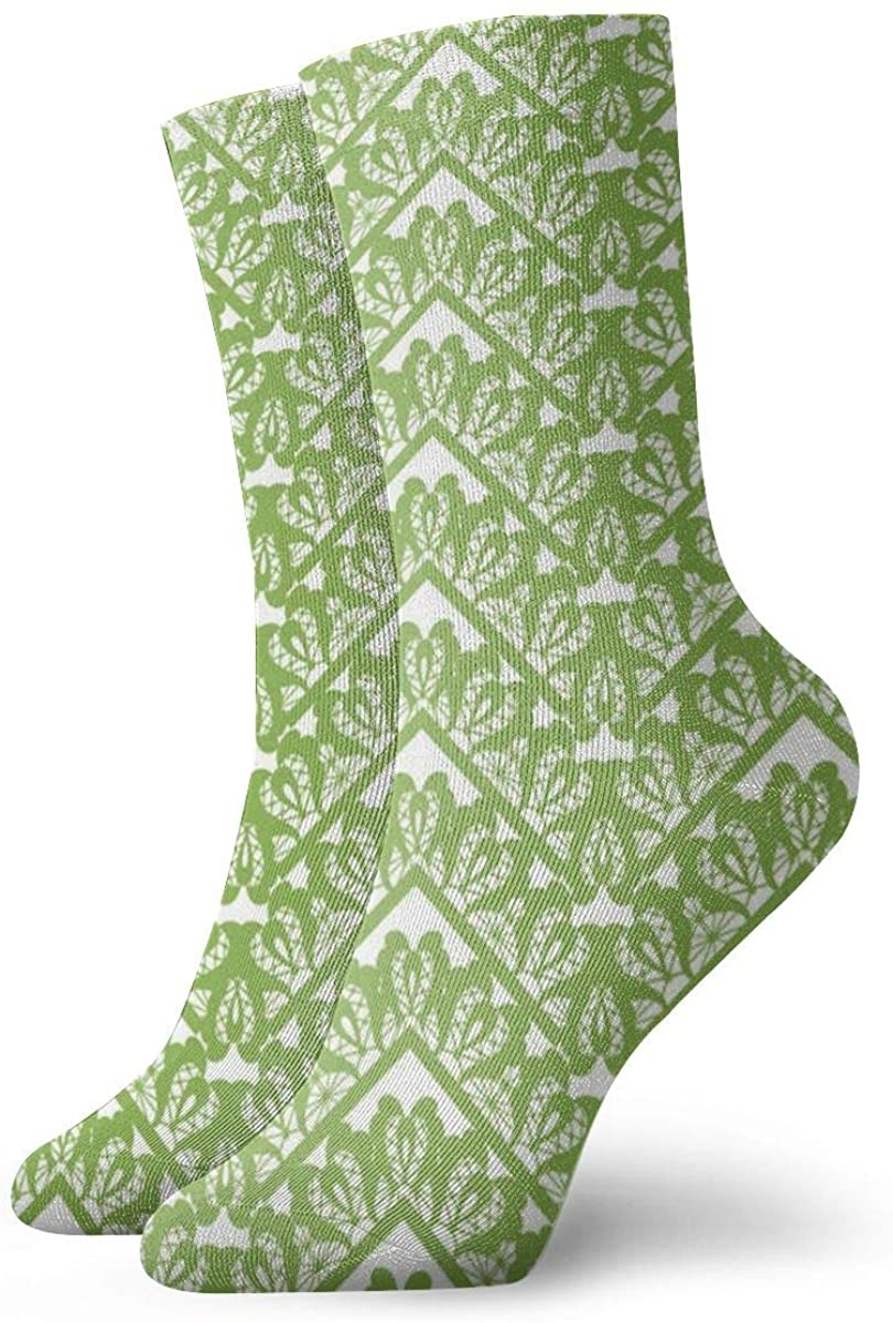 Greenery Zigzag Pattern Women's Casual Athletic Stockings Short Crew Socks