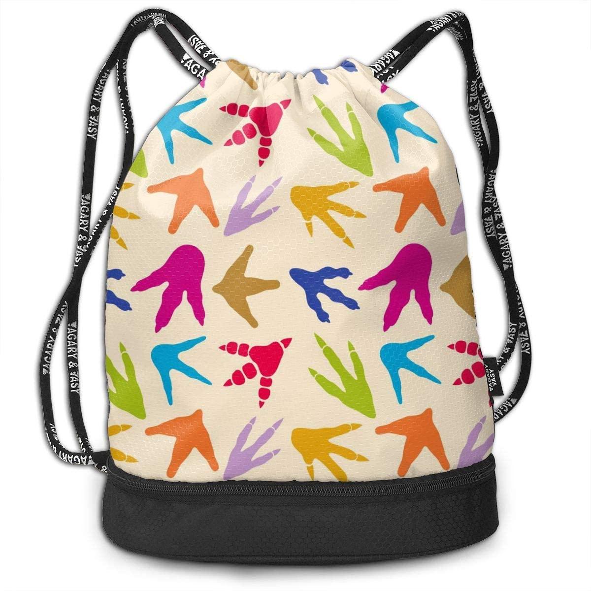 Bundle Backpacks Dinosaur Footprints Gym Sack Drawstring Bags Casual Daypack Yoga Bag School Training Pouch