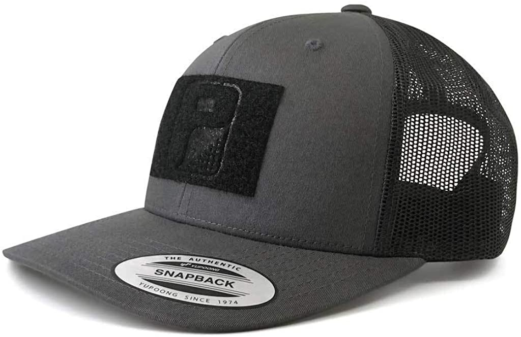 Pull Patch Tactical Hat | Authentic Snapback 2-Tone Curved Bill Trucker Cap | 2x3 in Hook and Loop Surface to Attach Morale Patches | 6 Panel | Charcoal Grey and Black | Free US Flag Patch Included
