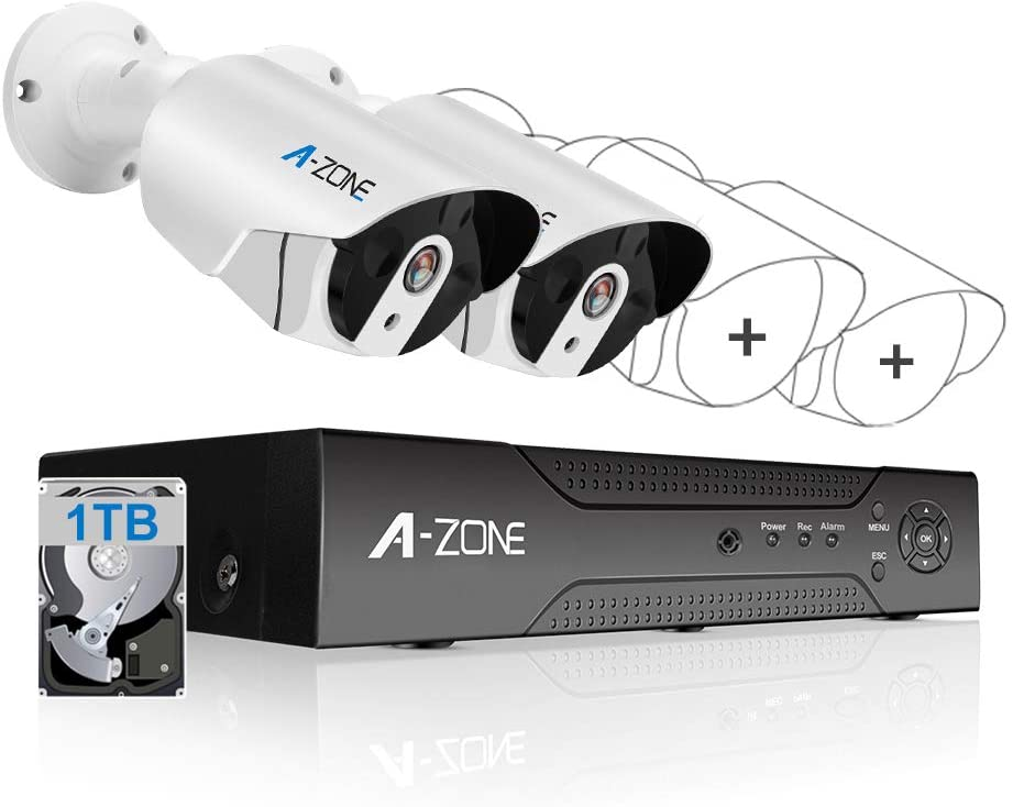 A-Zone 3mp Poe Security Camera System -2pcs HD Poe Camera 4ch Security Camera System Expandable Audio Smart Motion Detection,Poe Security Camera System with 1tb Hard Drive for Home.