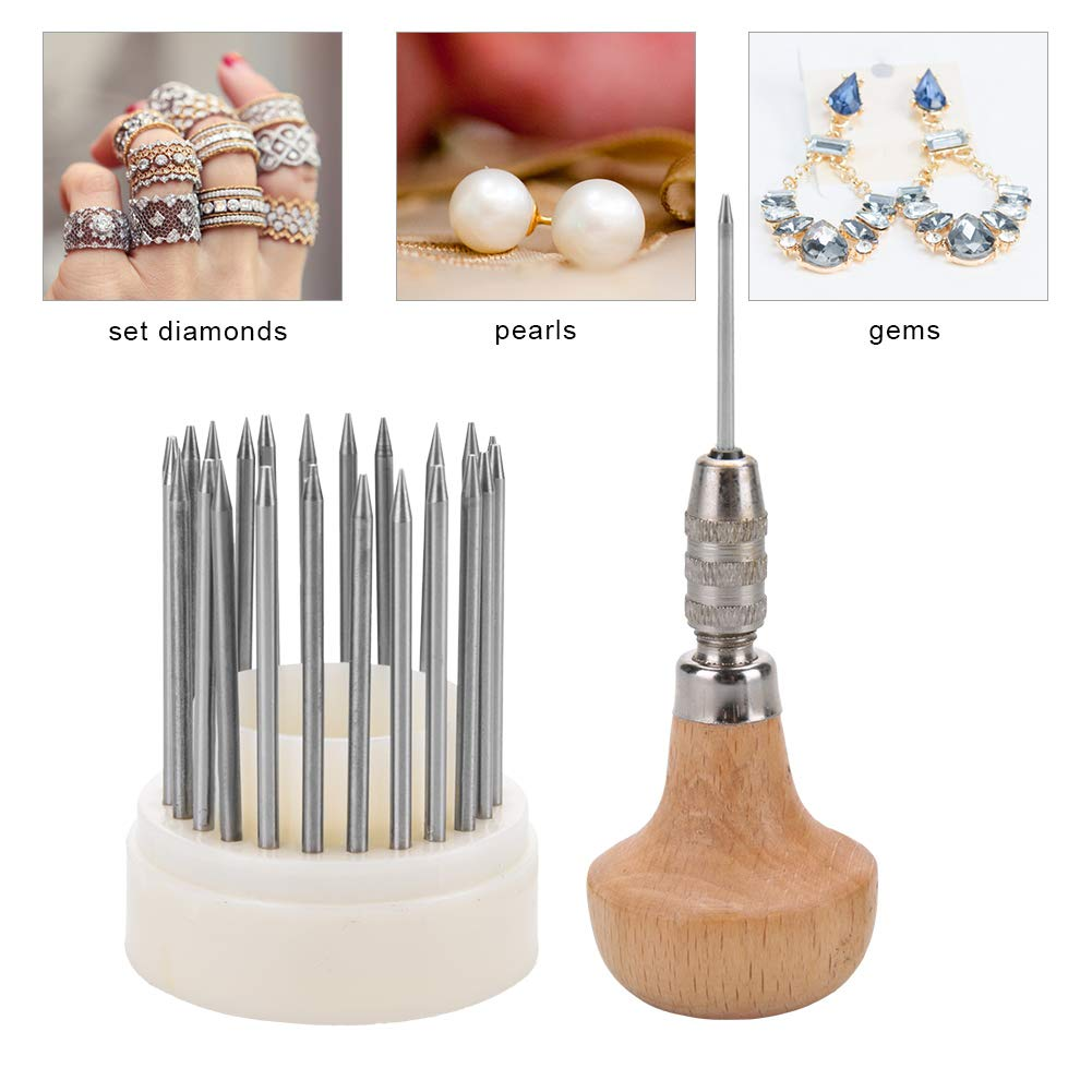 DIY Jewelry Tools Kit, 23pcs Beading Tools Set Graver Beader Diamond Stone Setting Graver Wood + Metal Jewelry Making Supplies Kit for Jewelry Repair Making Crafting and Beading