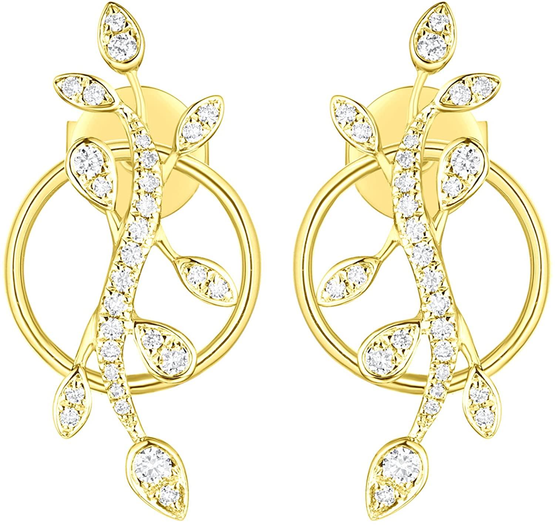 Prism Jewel 0.19 Carat G-H/I1 Natural Diamond Olive Leaf Style Earring, 14k Gold