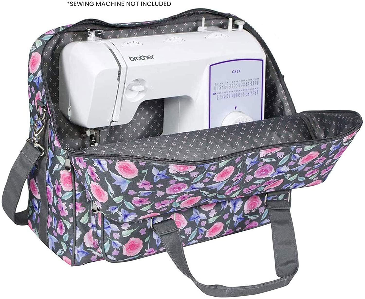 Everything Mary Deluxe Universal Sewing Machine Case, Floral - Portable Cover Tote Bag for Brother, Singer, Bernina & Most Machines - Carrying Travel Storage Carrier Supply Organizer for Accessories
