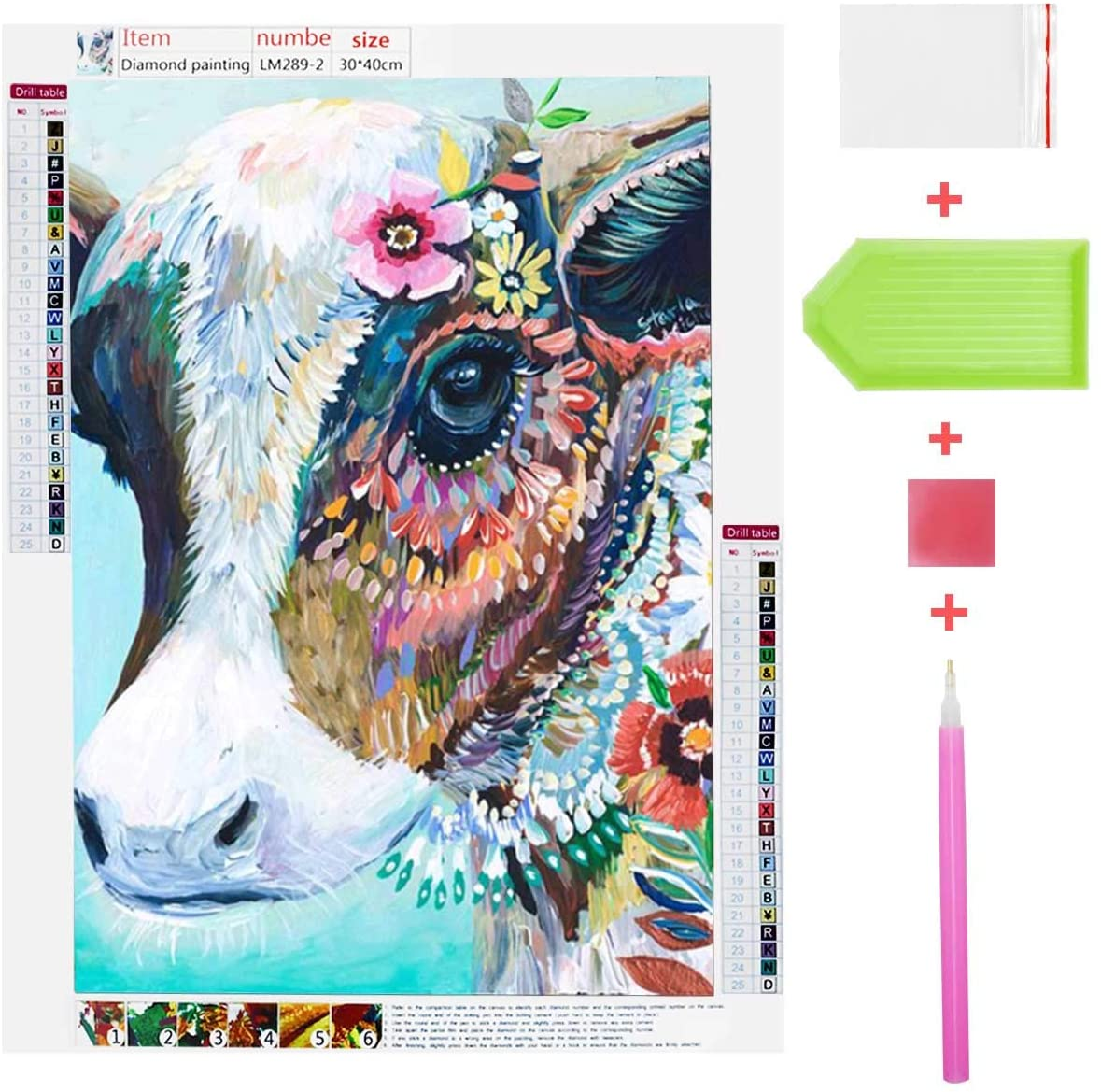5D Diamond Painting Kits DIY Full Drill Diamond Painting Kits for Adults Cow Diamond Arts Painting Home Wall Decor Colorful Cow Rhinestone Embroidery Cross Stitch Picture Art Craft Paint by Number Kit