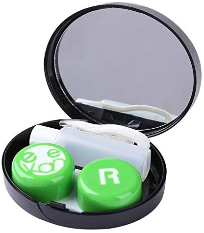 He-lanshangmaobu Portable Fashion Square Contact Lens Box Set Invisible Glasses Wearing Tool for Home Travel Easy Carry Glasses Box (Color : Green)