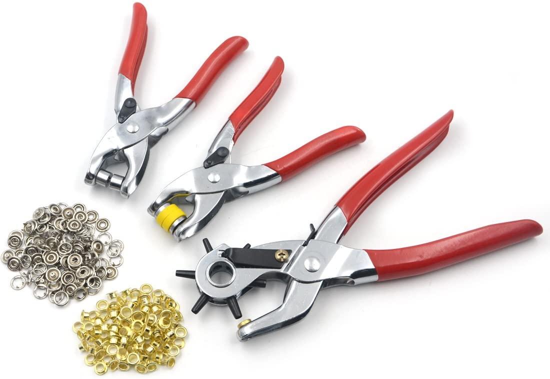 AngelaKerry 1Set(3pcs) Steel Leather Plier Punch Tool Hole Eyelets Snap Belt Setter Grommet Press - Red
