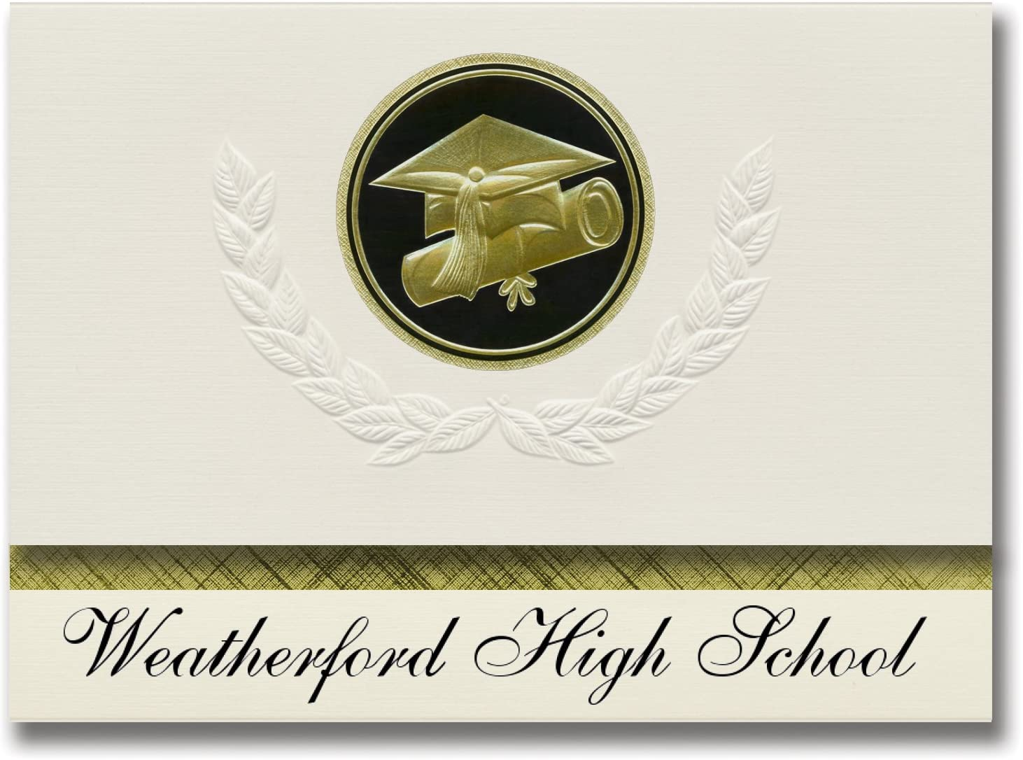 Signature Announcements Weatherford High School (Weatherford, OK) Graduation Announcements, Presidential style, Elite package of 25 Cap & Diploma Seal Black & Gold