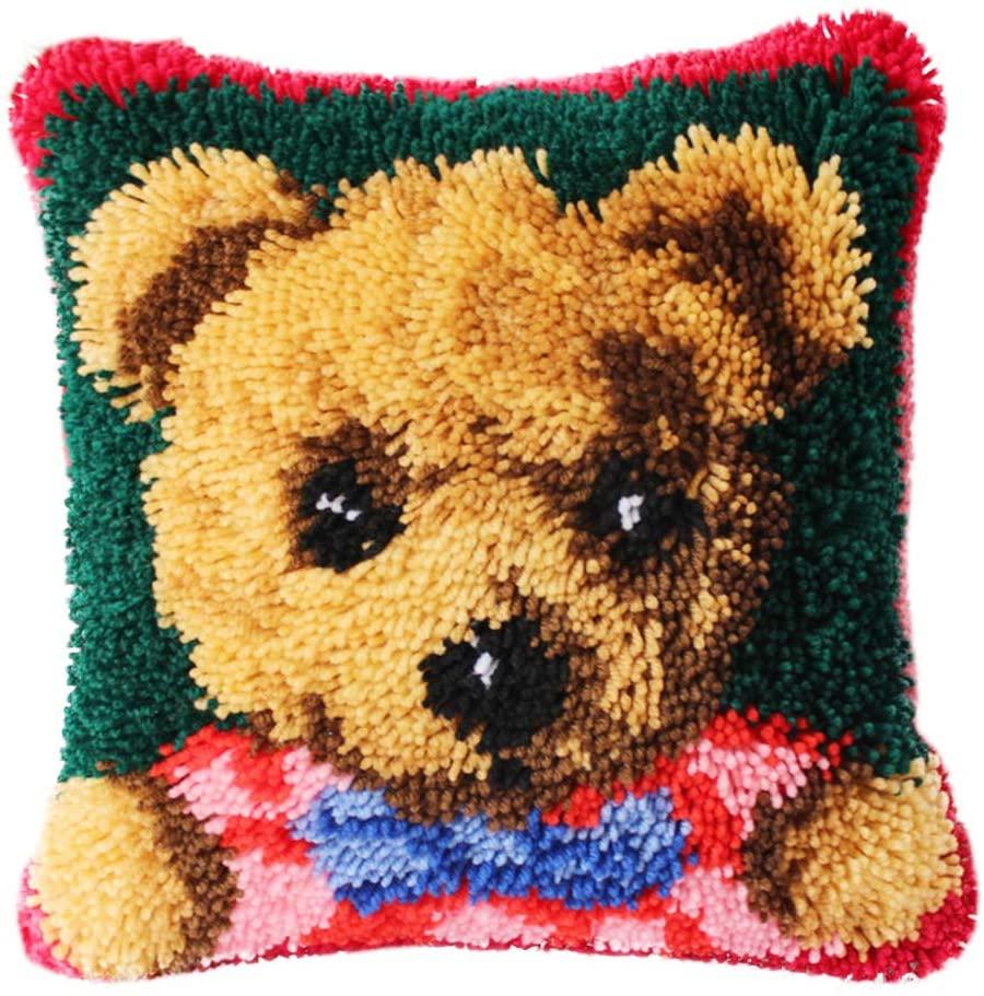 TQQT DIY Latch Hook Rug Kits Cushion Carpet Mat Cover Hand Craft Embroidery Pillowcase Crocheting Yarn Sewing Cartoon Handmade Baby Kids Adults Parents Gift Bear 0111