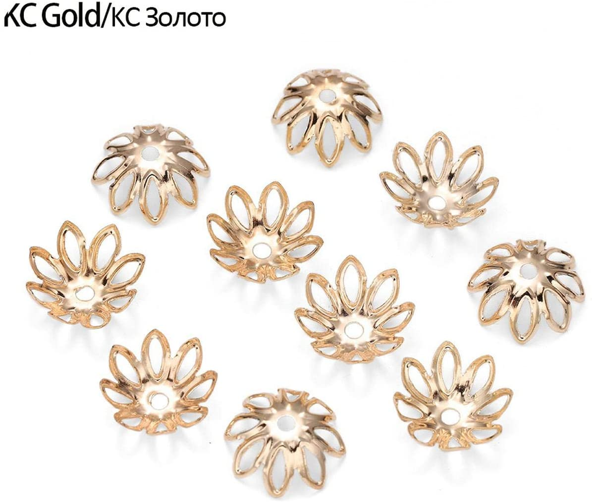 Accessorie 100Pcs/Lot Gold Bronze Plated Filigree Metal Hollow Flower Spacer Beads End Caps for Jewelry Making Charms Necklace-Kc Gold-11Mm X 100Pcs