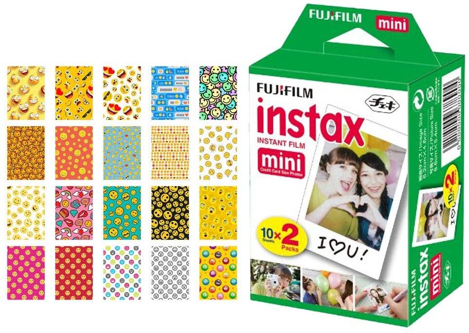Fujifilm instax Mini Instant Film (20 Exposures) + 20 Sticker Frames for Fuji Instax Prints (Emoji)
