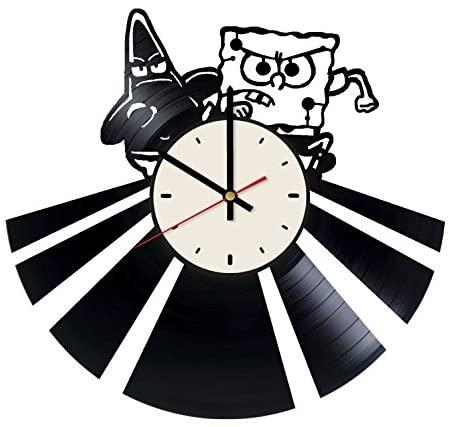 Spongebob Vinyl Wall Clock Cartoon Unique Gifts Living Room Home Decor