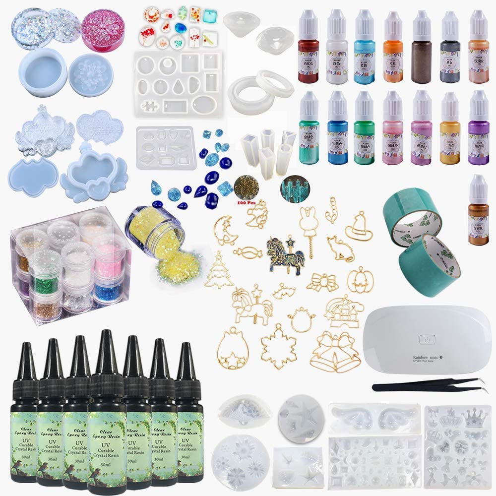 Epoxy Resin Full Kit Molds Color Pigments Glitters, 7 Crystal Clear UV Epoxy, Earrings Pendants Bracelets Jewelry Storage Box Molds, Pearlescent Pigments, Open Back Bezels, with Curing Device