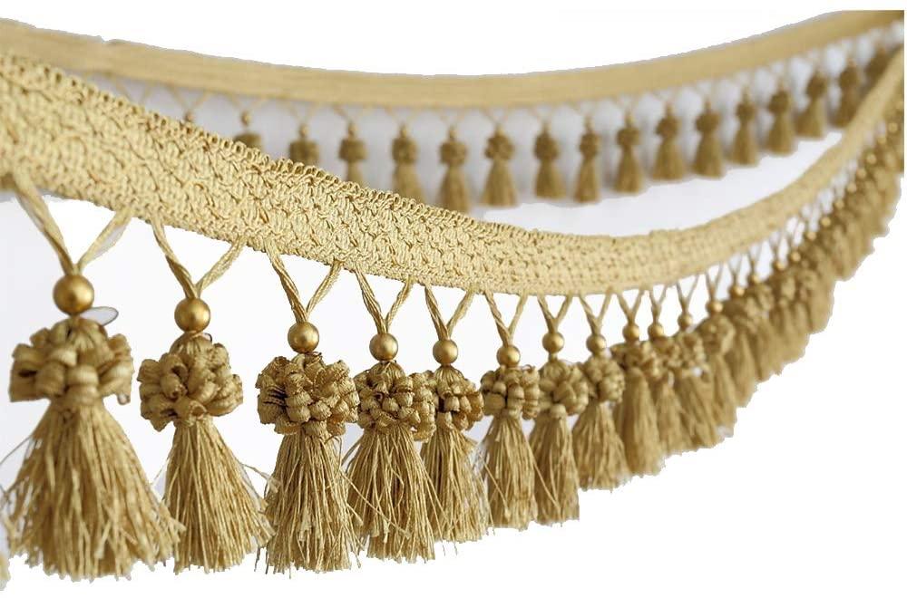 6yard Cloth Curtain Sewing Tassel Fringe Trim Bead Braided Accessories Home DIY Decoration Supplies T2849 (E Gold)