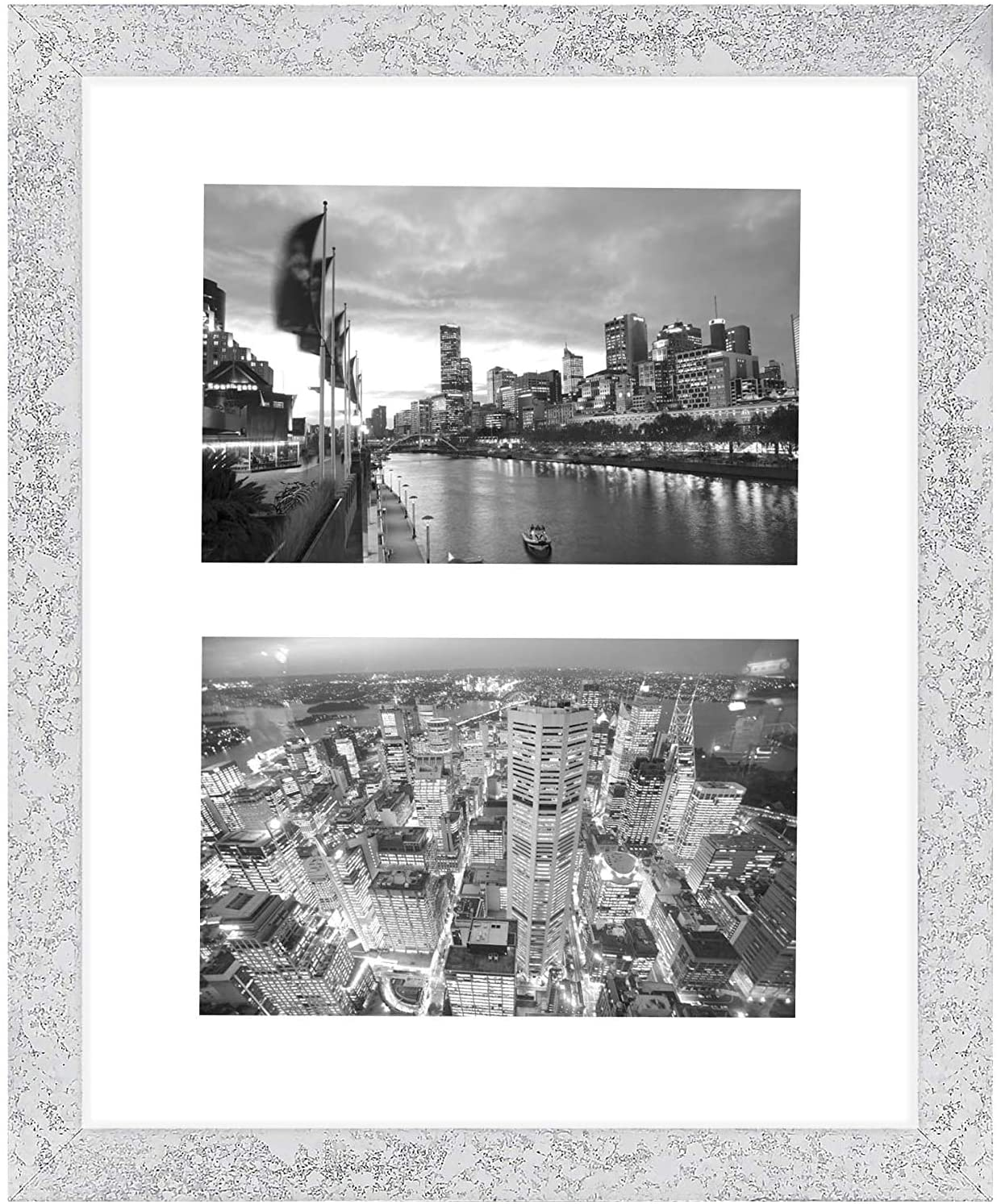 Golden State Art, 8x10 Silver Collage Picture Frame - White Mat for (2) 4x6 Pictures - Wood Molding - Easel Stand for Tabletop - D-Rings for Wall Display - Great for Homes, Offices, Events