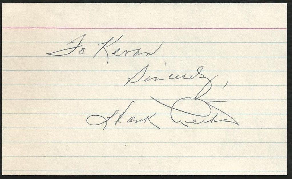 New York Giants Hank Leiber (d.93) Signed Auto Vintage 3x5 Index Card F5 - MLB Cut Signatures