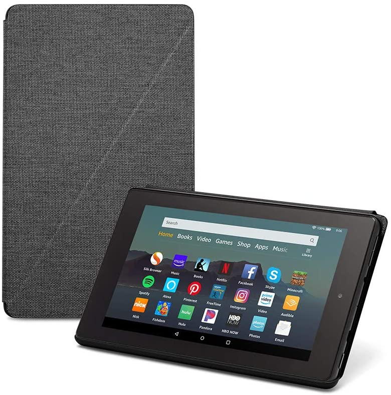 Fire 7 Essentials Bundle including Fire 7 Tablet, DHgate Standing Case, and Nupro Anti-Glare Screen Protector