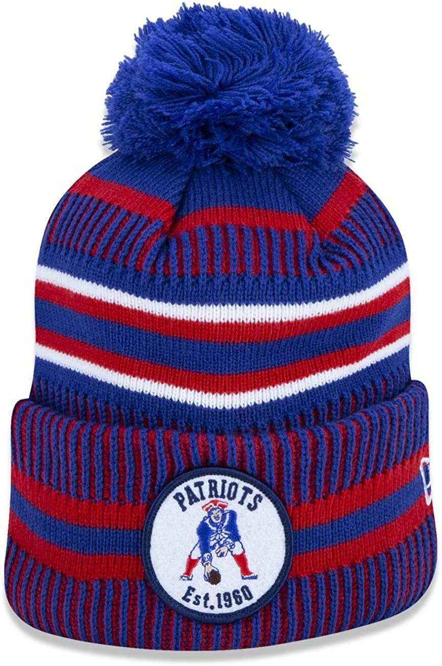 New England Patriots 2019 Sideline Historic CC Home Pom Sport Knit Hat