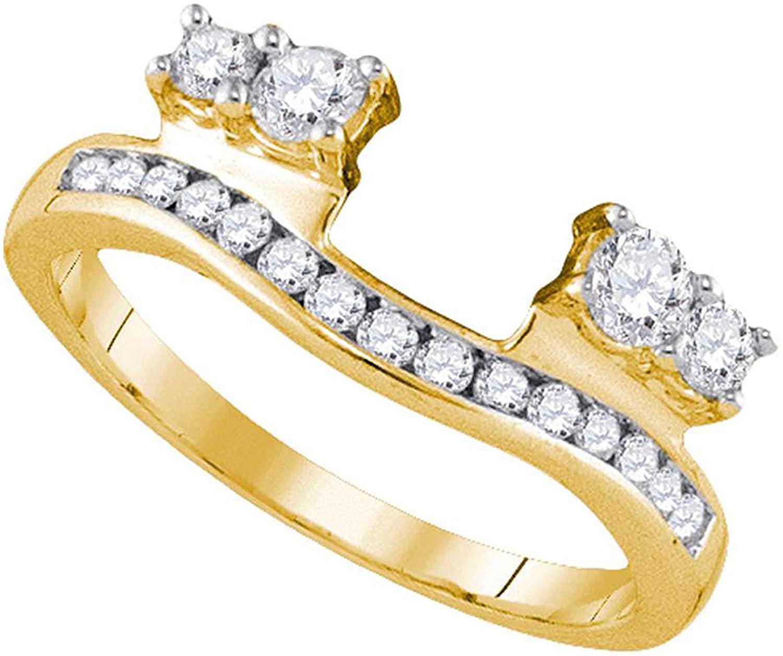Dazzlingrock Collection 0.5 Carat (Ctw) Round Diamond Ring Guard Wrap Solitaire Enhancer 1/2 Ctw, 14k Yellow Gold