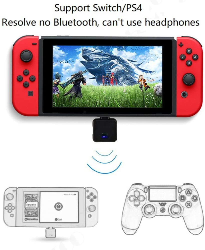 Type-C Mini Wireless Bluetooth 4.2 USB Audio Transmitter Adapter Dongle to Headphones Headset Compatible for Nintendo Switch / PS4 / Laptop PC on Windows 10 8 7 (Support in-Game Voice Chat)