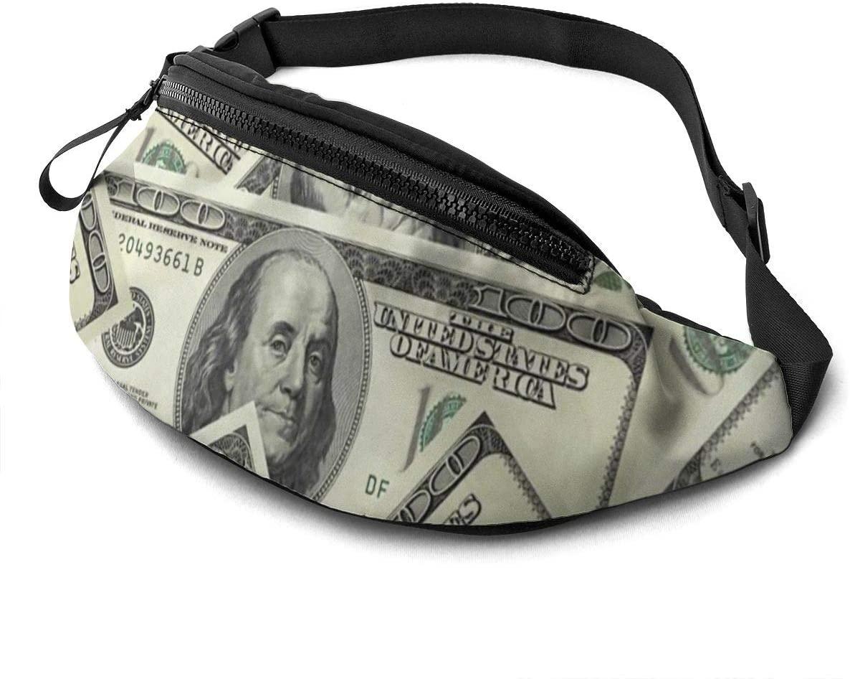 100 Dollar Money Fanny Pack for Men Women Waist Pack Bag with Headphone Jack and Zipper Pockets Adjustable Straps