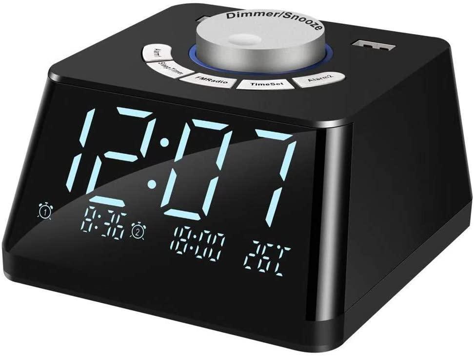 Digital Alarm Clock Radio - YIHUNION Dual USB Charging Ports FM Radio with Sleep Time Temperature Display Snooze Dual Alarms with 6 Wake up Sounds 5 Level Brightness Dimmer Adjustable Alarm Volume