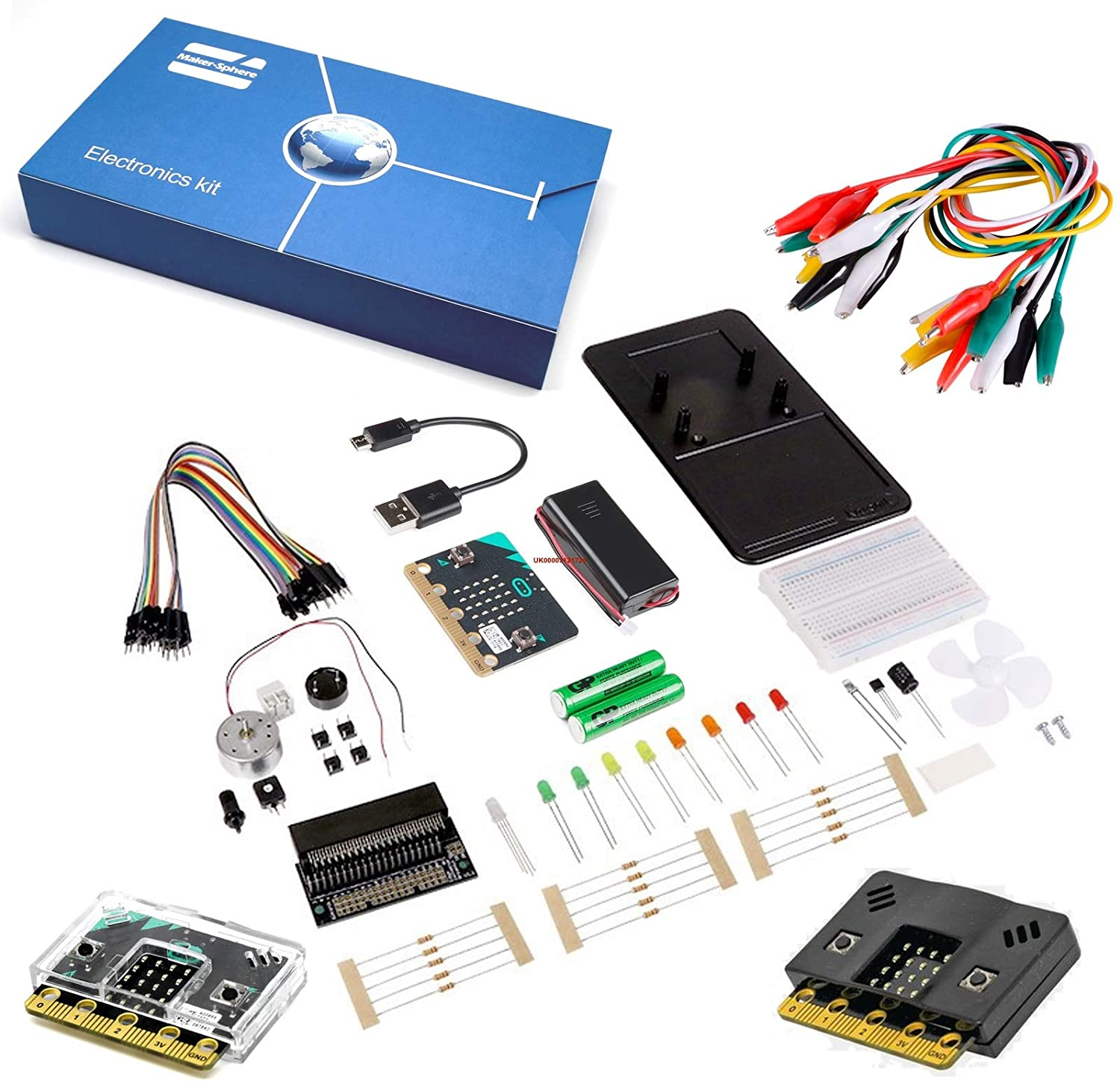 Maker-Sphere Inventors Kit for BBC Micro:bit with 10 Experiments Include BBC Micro:bit with Clear and Black Case, BBC Micro:bit Starter Kit