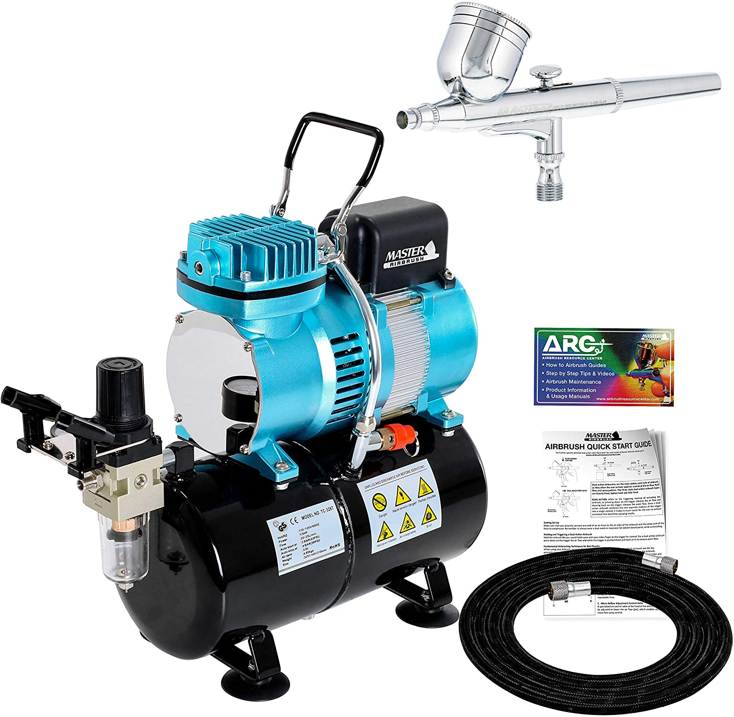 Master Airbrush Cool Runner II Dual Fan Air Storage Tank Compressor System Kit with a G22 Gravity Feed Airbrush Set with 0.3 mm Tip - Hose, Holder, How-to Guide - Hobby, Auto, Cake, Tattoo, Body Art