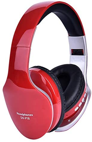 Redcolourful Wireless Headphones b/l/u/e/Too/th Headset Foldable Stereo Headphone Gaming Earphones Support TF Card with Mic for PC All Phone Mp3 red