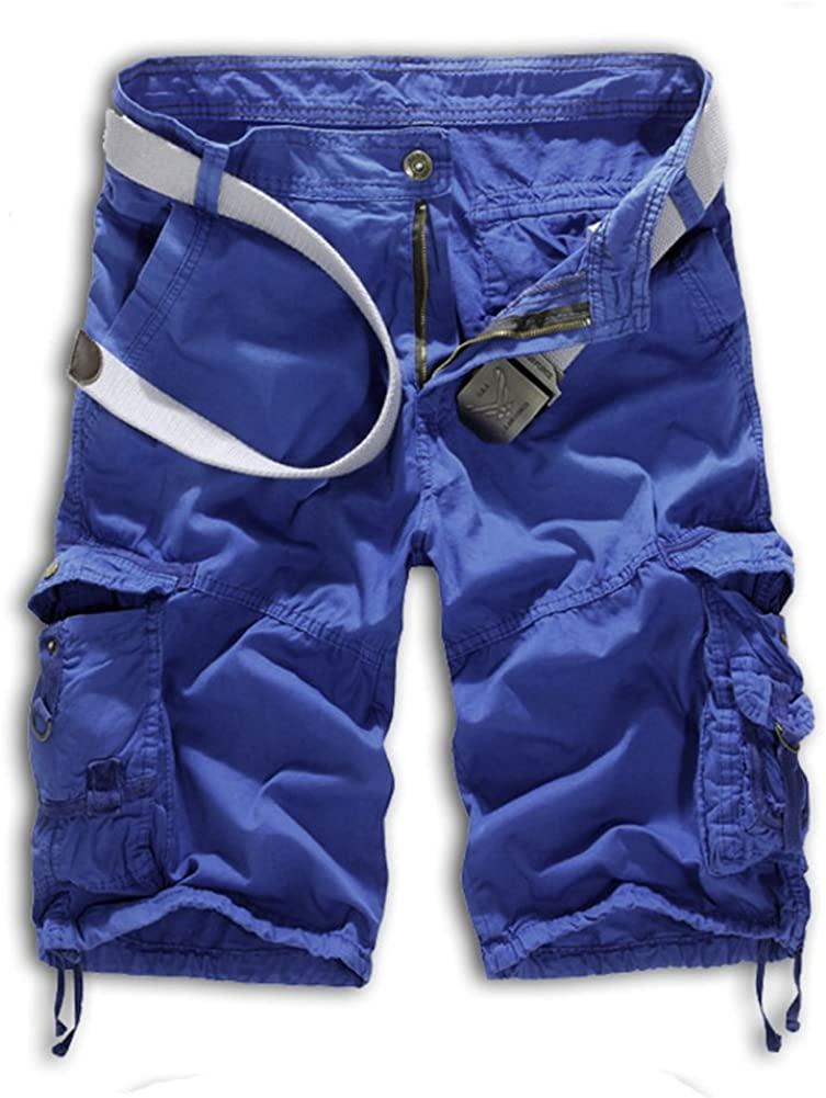 Tonwhar Men's Summer 100% Cotton Cargo Shorts (36, Sky Blue)