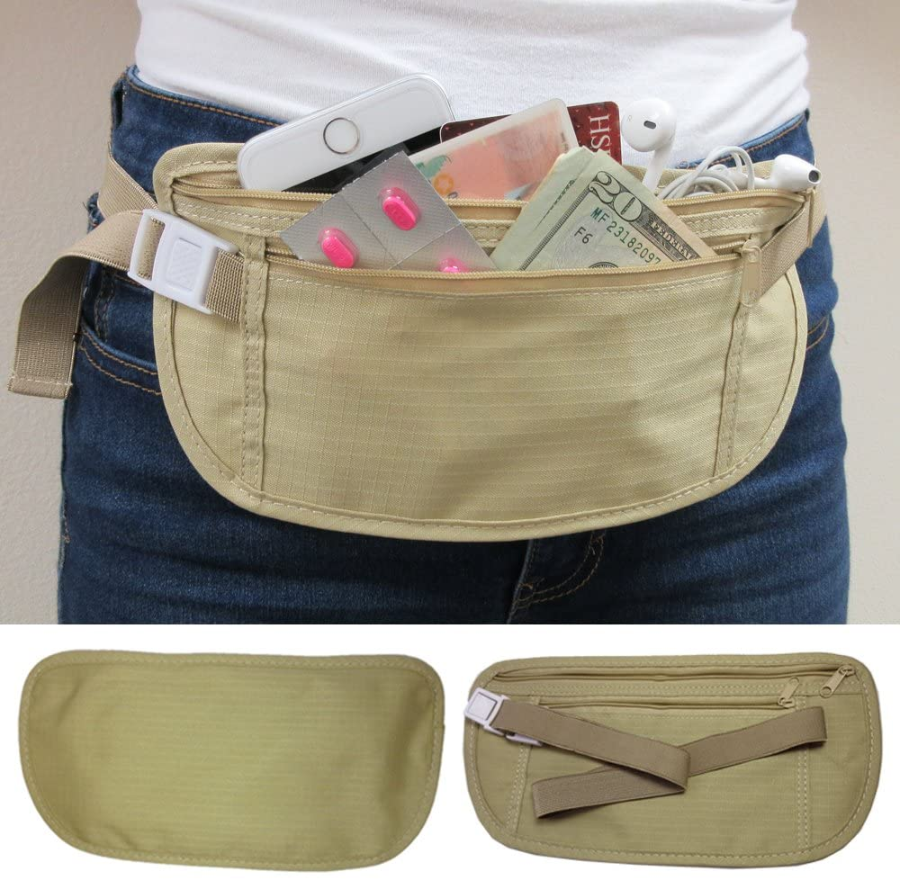 4Pc Travel Pouch Hidden Passport ID Holder Compact Security Money Waist Belt Bag