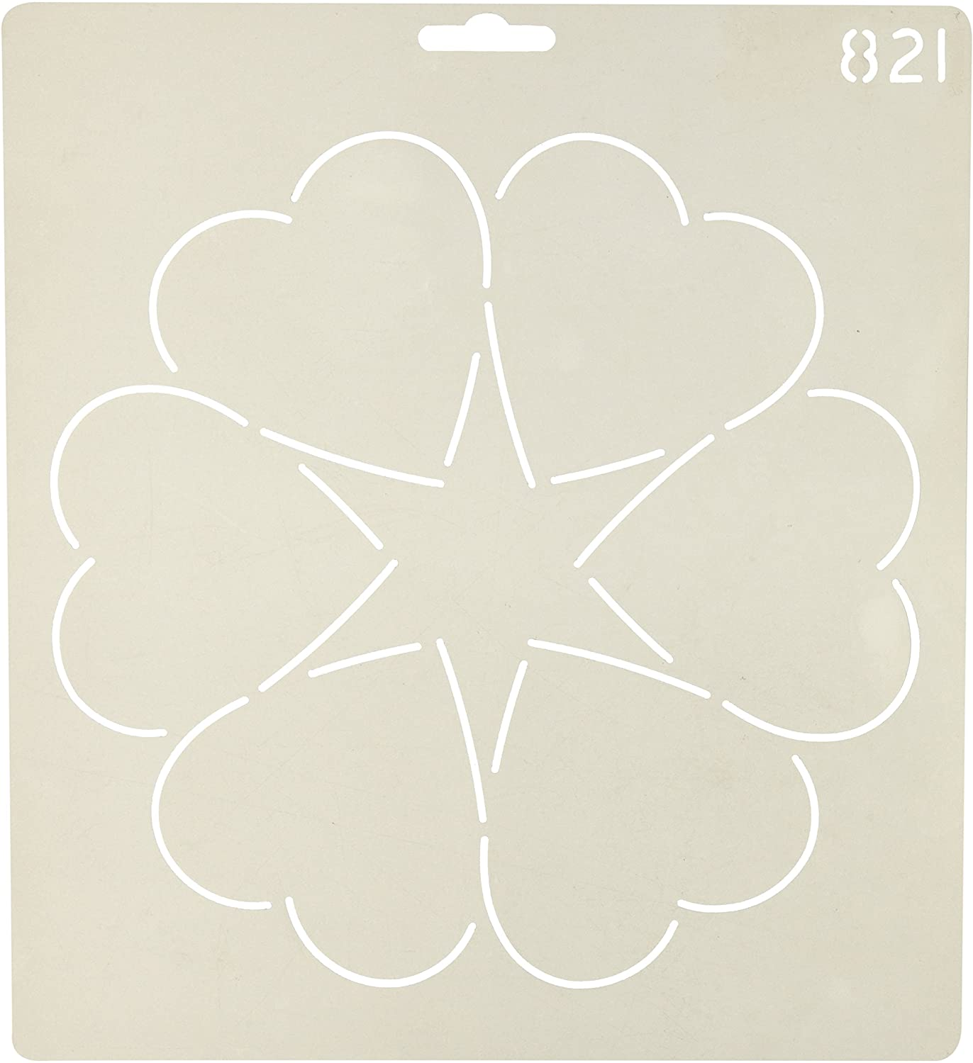 Quilting Creations Ring of Hearts Quilt Stencil, 8