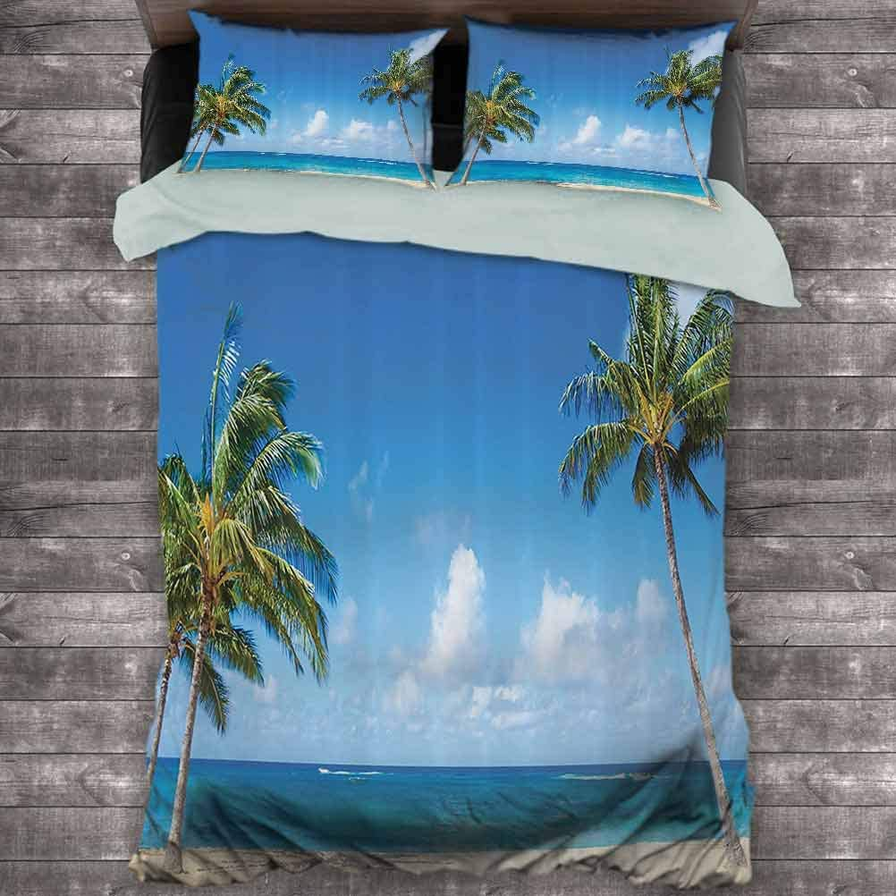 Hawaiian Decorations Collection Extra Large Quilt Cover Windy Exotic Island with Tropical Trees Calm Beachy Theme Ocean Photography Print Can be Used as a Quilt Cover-Lightweight (Queen) Green Blue