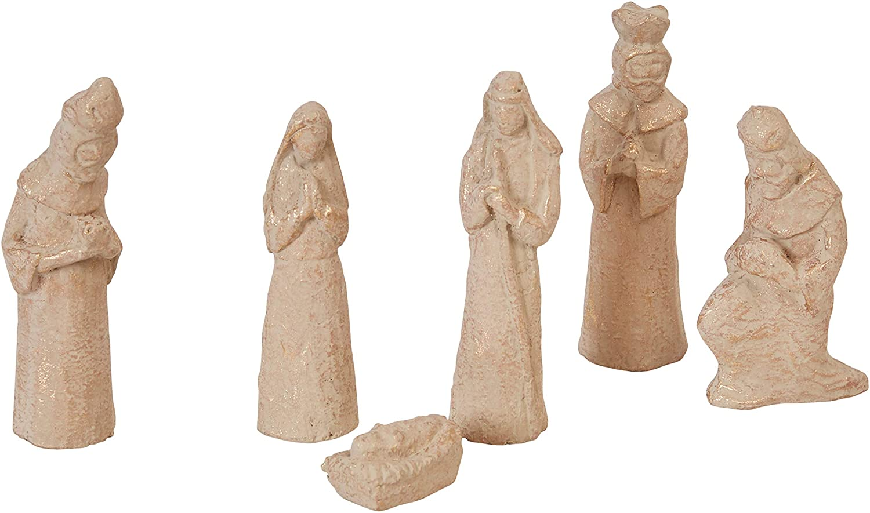 Creative Co-op Handmade Paper Mache (Set of 6 Pieces) Nativity, Brown
