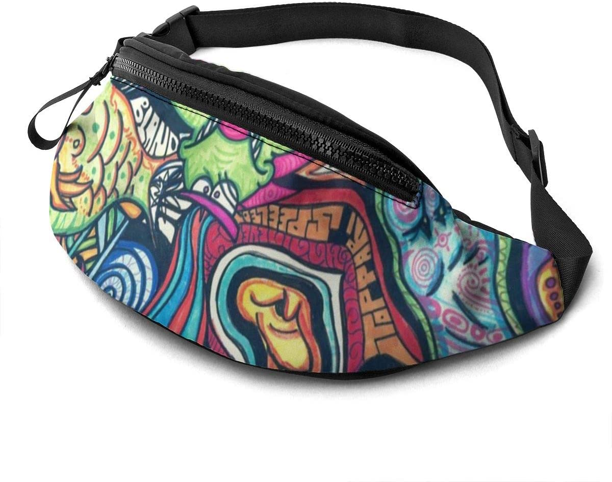 Variety animal hiphop Fanny Pack for Men Women Waist Pack Bag with Headphone Jack and Zipper Pockets Adjustable Straps