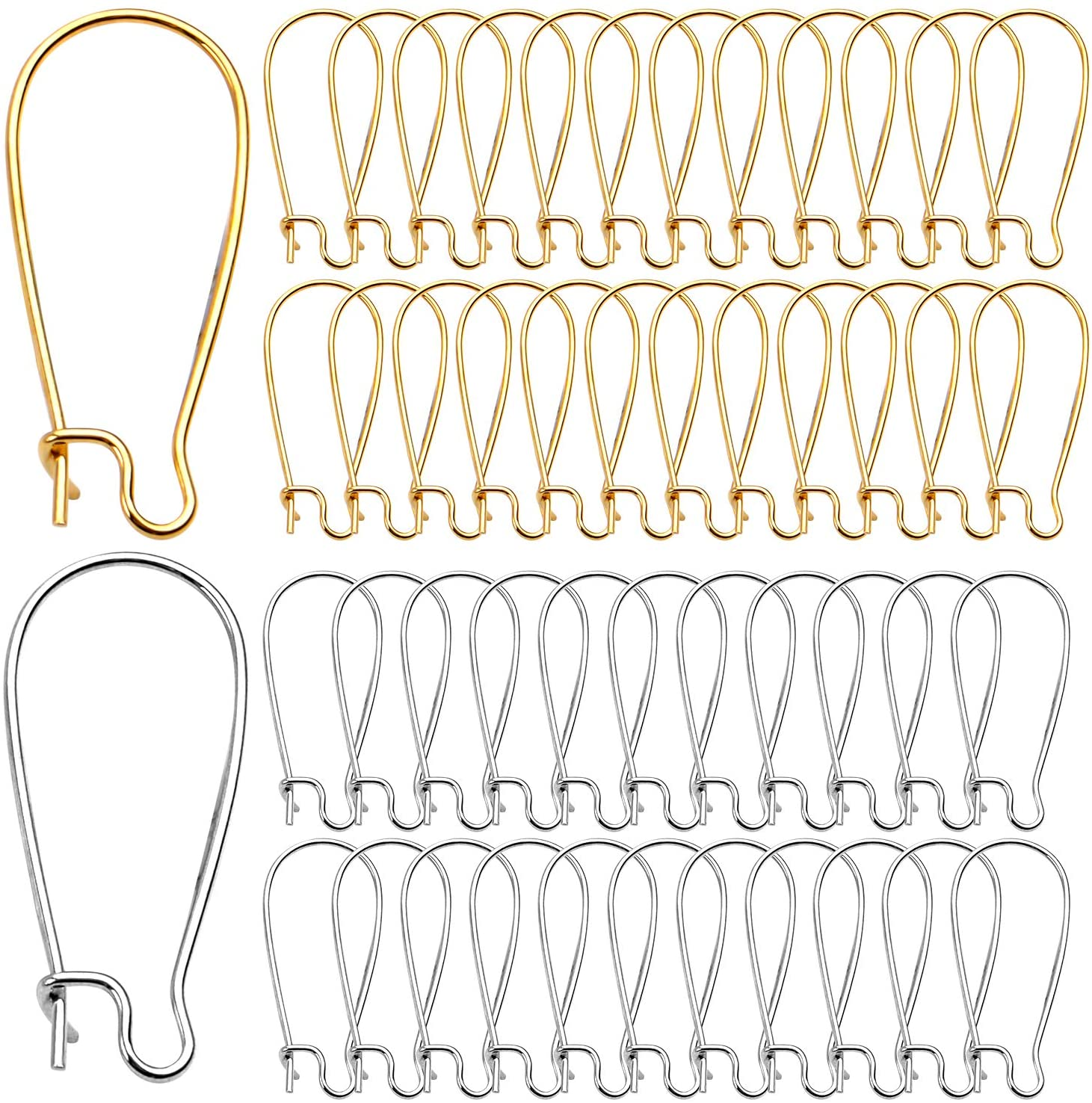 DIY Earring Findings, 200pcs Kidney Ear Wires U-shaped Earring Hooks Earring Components for Long Dangle Earrings Jewelry Makings - Silver and Gold