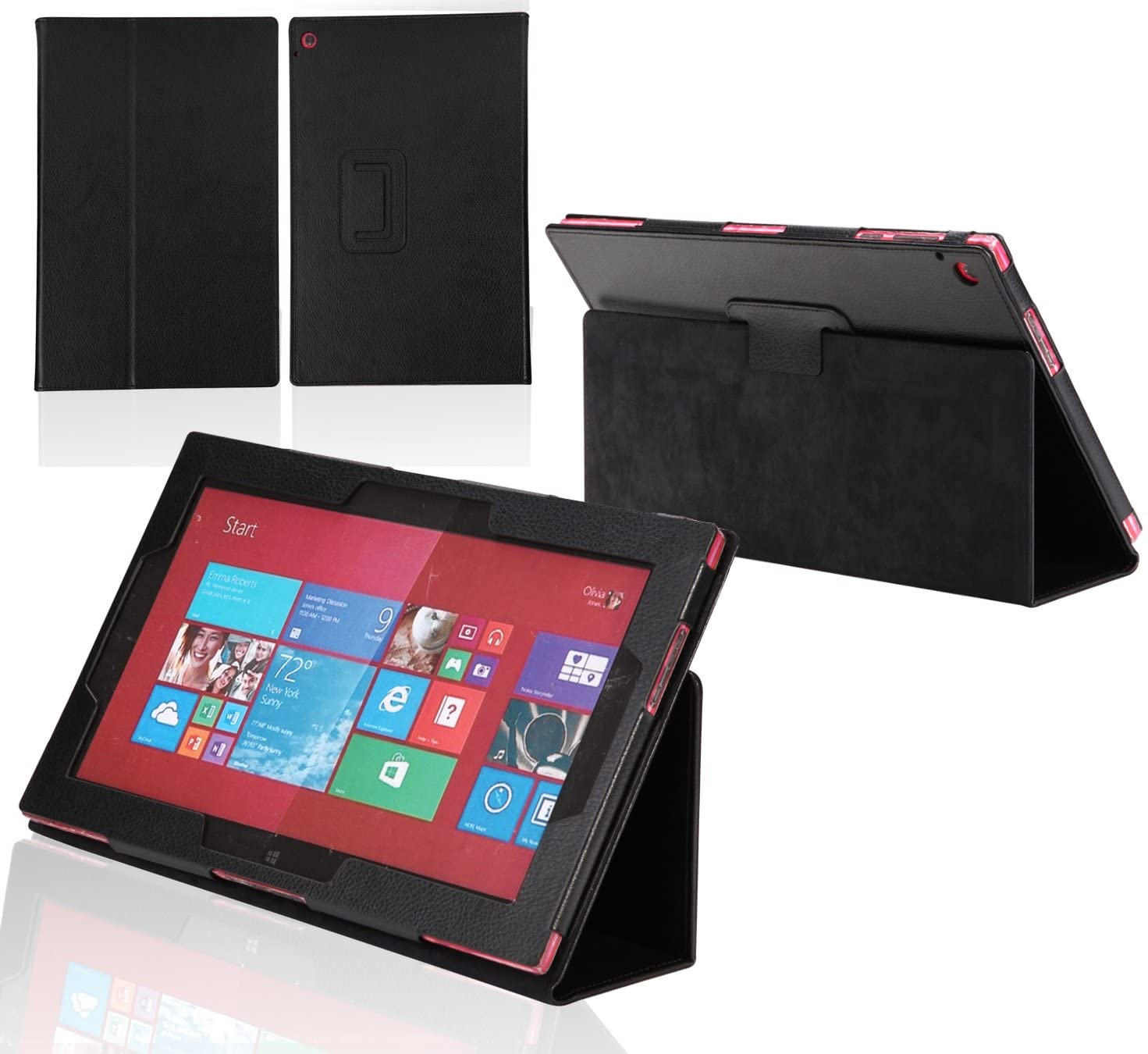 Navitech Black Faux Leather Case Cover with Stand Compatible with The Nokia Lumia 2520 10.1 4G LTE Tablet Windows RT 8.1