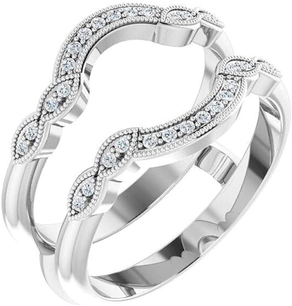 Bonyak Jewelry 14k White Gold 1/6 CTW Diamond Ring Guard - Size 7