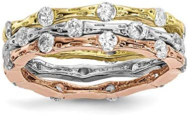 Sterling Silver Rose & Gold-tone CZ Stack Rings