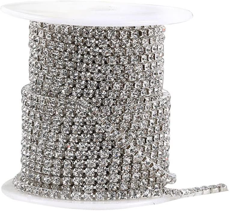 Pi-Pi 32.8 Feet 2MM Crystal Rhinestone Close Chain Trimming Claw Chain Jewelry Crafts DIY (Silver)