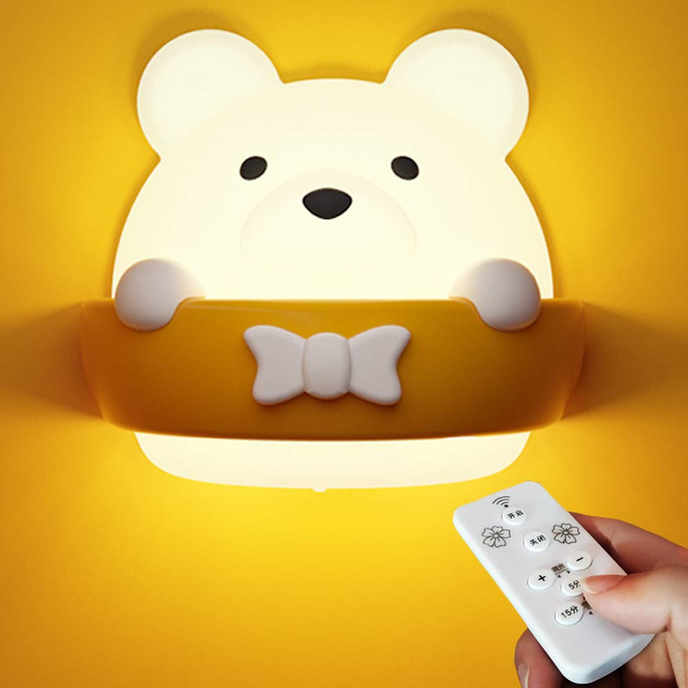 LED Nursery Night Light for Kids, AVEKI Rechargeable Dimming Besides Lamps with Remote Control Adorable Bear Night Lamp Wall Light for Baby Kids Bedroom (USB Powered)