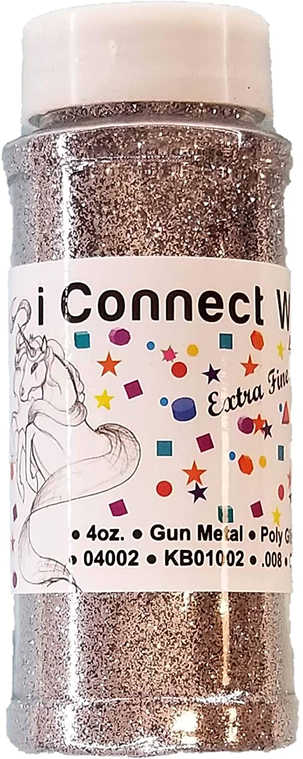 ICW Glitter Gun Metal Extra Fine Gray Glitter for Nail Art, Makeup, Tumblers or Crafts