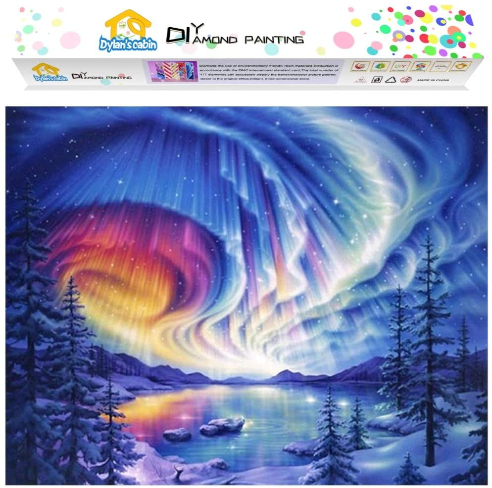 Dylan's Cabin DIY 5D Diamond Painting Kits for Adults,Full Drill Embroidery Paint with Diamond for Home Wall Decor(aurora/12x16inch)