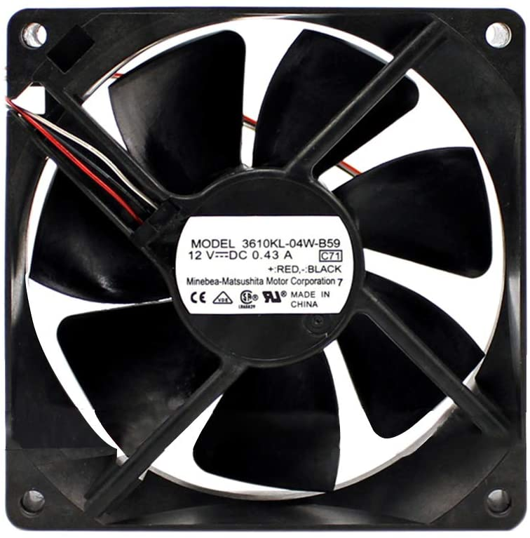 NMB-MAT 3610KL-04W-B59 DC 12V 0.43A 92X92X25mm 3-Wire Server Inverter Square Cooling Fan