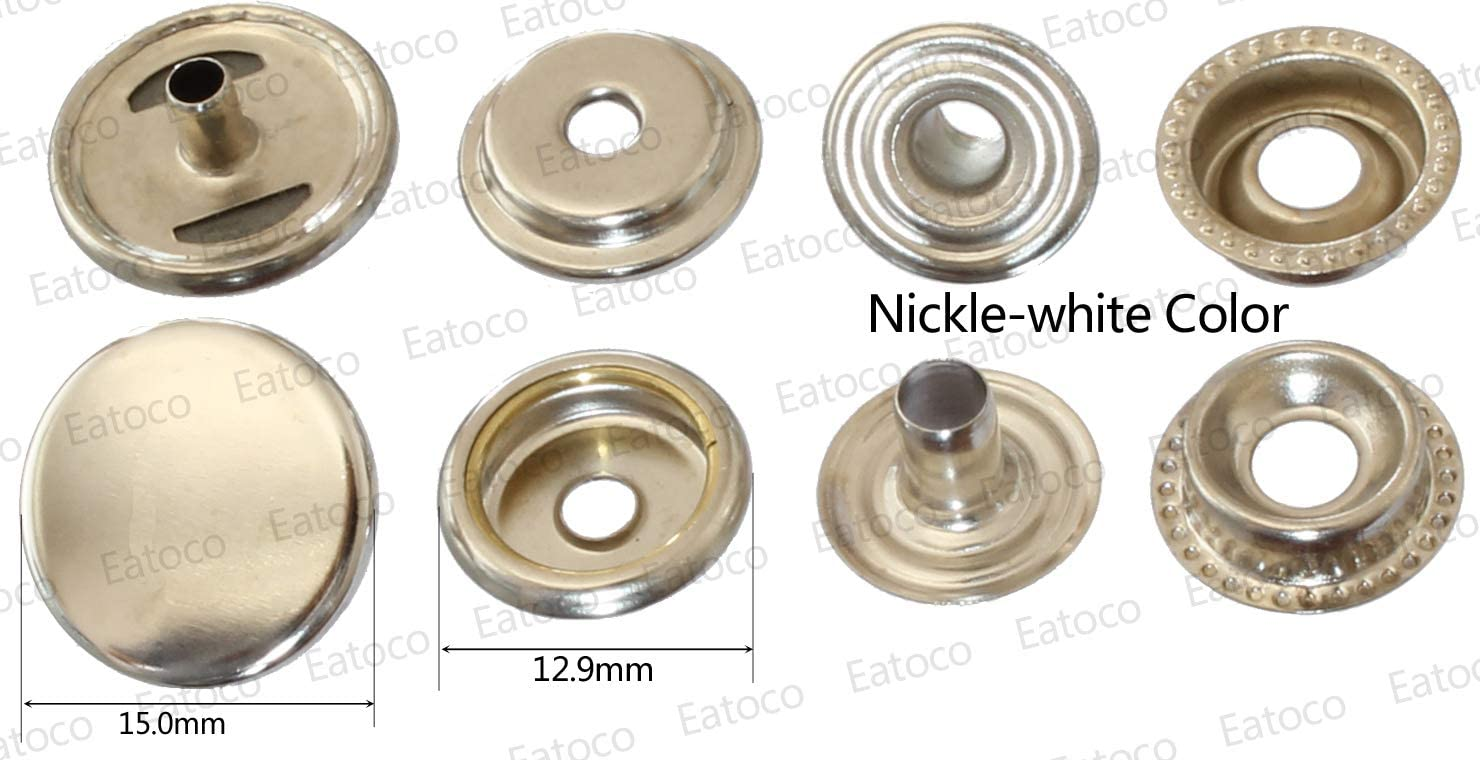 Brass Copper Snaps Buttons #201 (15X) Silver Color Cap 15mm 24L Unbreakable Setter Tools Machine ZYT Pliers, Coat Canvas Snapkit Fasteners Handheld Press (#201 Snaps Silver Color 20 Sets)