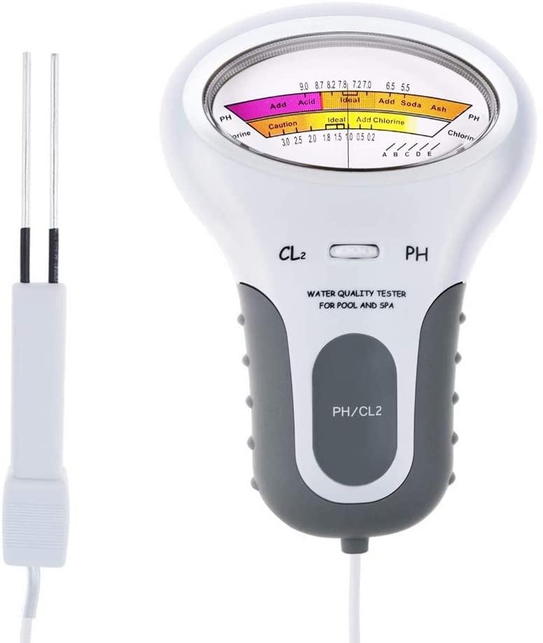 SKYHY224 2-in-1 Chlorine & PH Meter Swimming Pool Tester, Meter Test Spa Water Quality Analysis Monitoring Monitor Analyzer, Handheld Portable